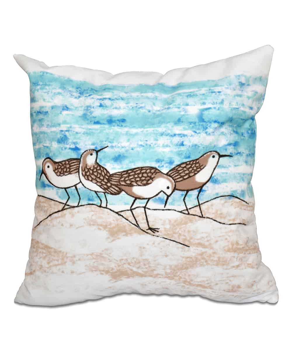 Taupe Sandpipers Throw Pillow