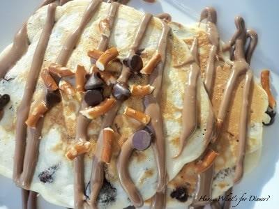 Chocolate Chip Pretzel Pancakes with Peanut butter Nutella Sauce