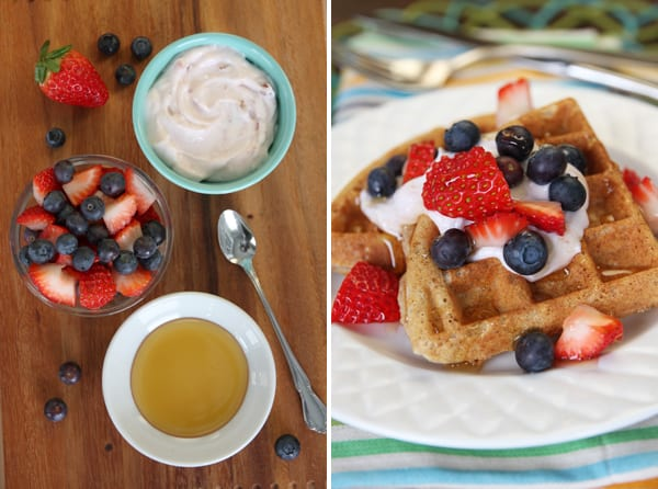 Whole Wheat Waffles with Honey-Berries and Yogurt