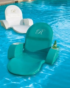 Would you ever get out of the pool if you had this type of lounger?  (Love the bottle and cup holders.)