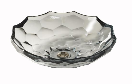 Glass vessel sink which would be perfect on a deco-inspired vanity.