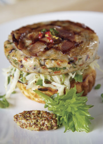 Halibut King Crab burger with Pancetta