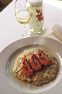 Risotto with Lemon Rinds, Shrimp and Seeds of Pomegranate