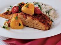 Roast Salmon with Savoury Peach & Basil Sauce