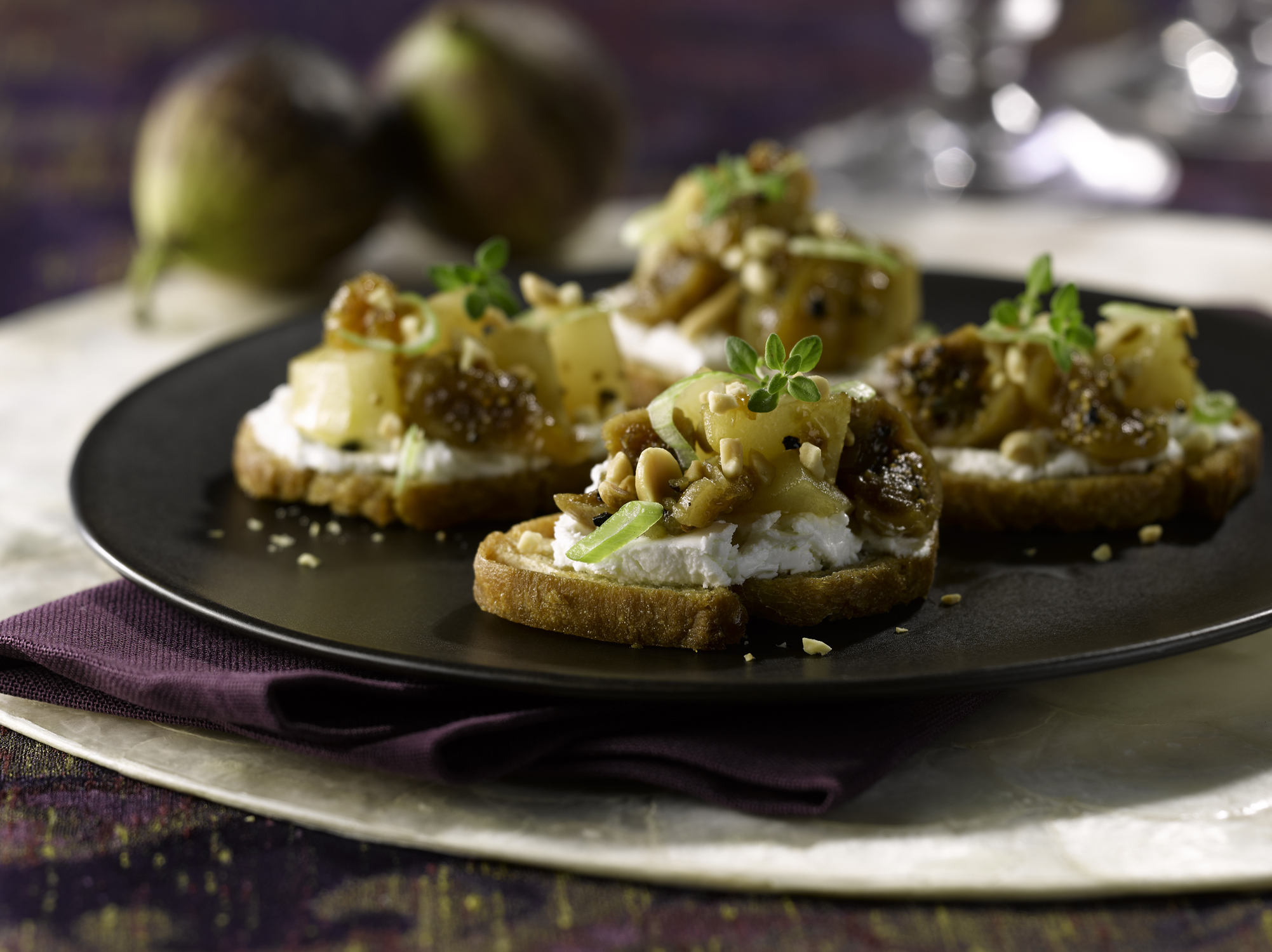 Fig, Pear and Peanut Bruschetta