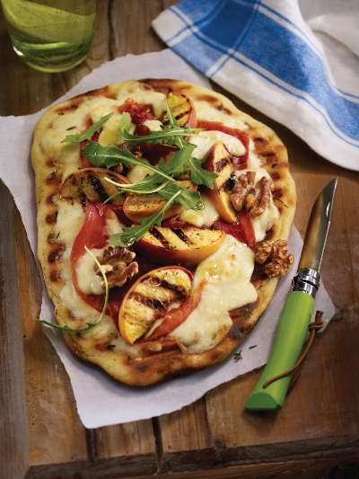  Grilled Pizza with Mozzarellissima, Prosciutto and Peaches
