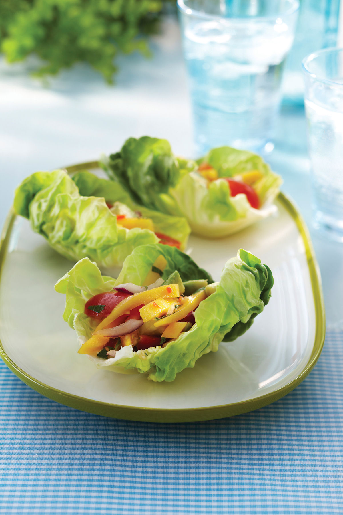 Butter Lettuce Bundles with Thai Avocado, Tomato and Mango Salad