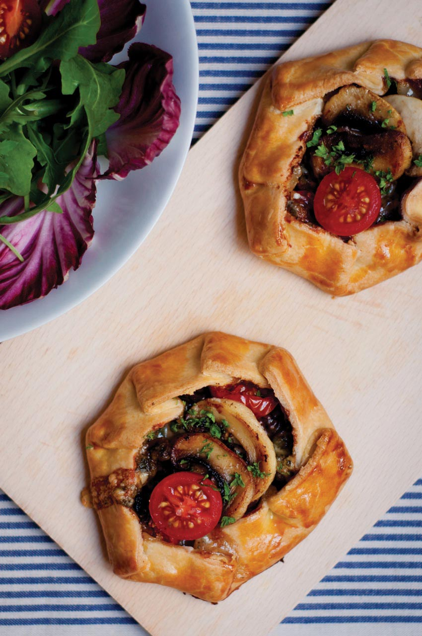 Mini Mushroom-Tomato Galettes with Roquefort and Walnuts