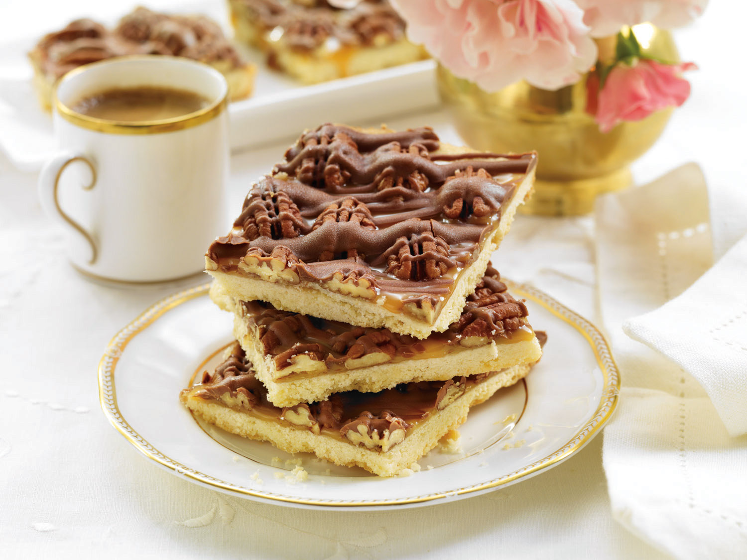 Luscious Shortbread Caramel Chocolate Pecan Squares - Home ...