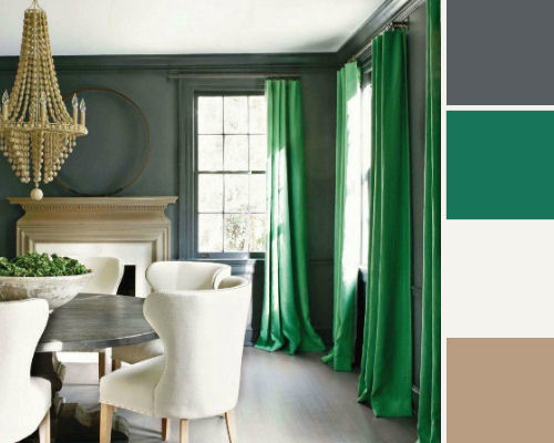 drama colour palette with emerald green