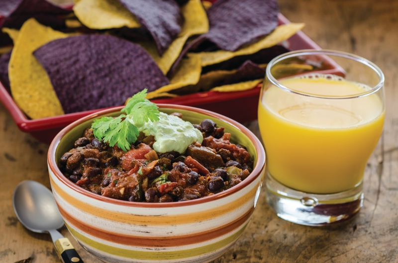 Black Bean Florida Citrus Chili with Avocado Cream