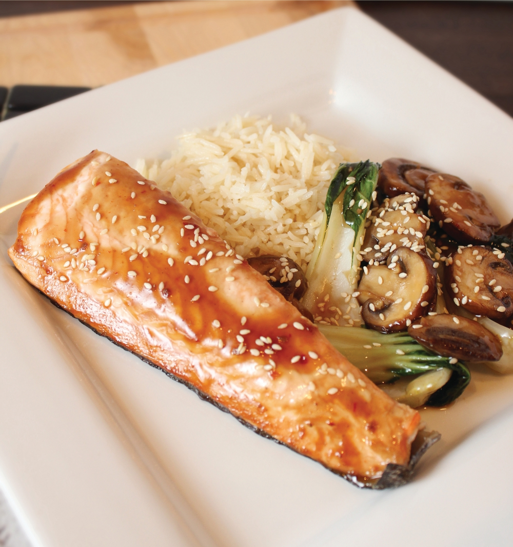 salmon recipes dishmaps teriyaki mushroom sauce with grilled salmon ...