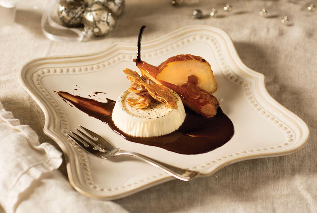 Vanilla Panna Cotta, Roasted Pears, Chocolate Sauce and Salted Almond