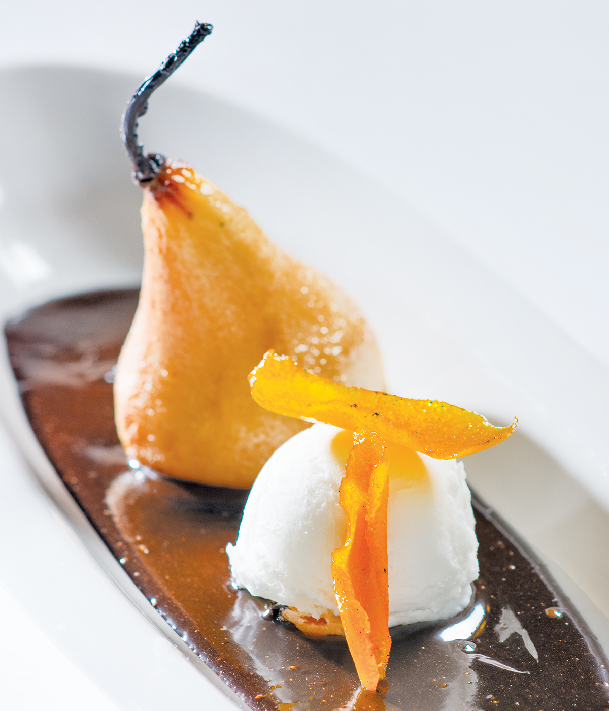 Roasted Pears with Chocolate Sauce
