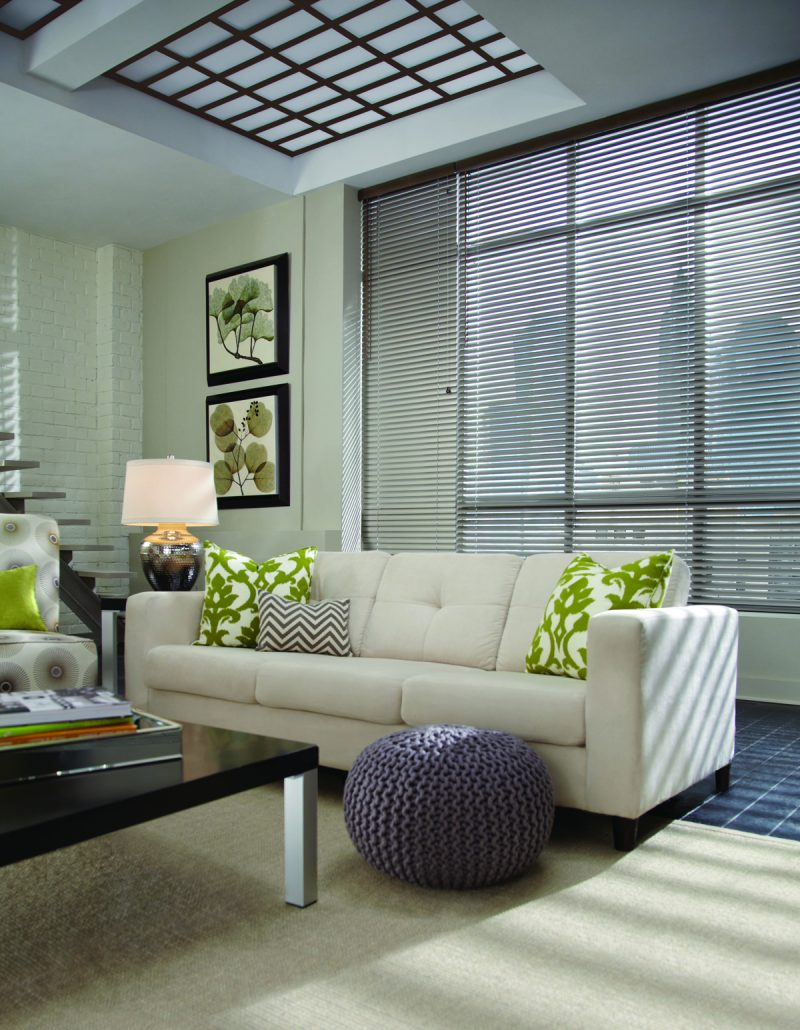 Different patterns and fabrics from your favourite affordable shops make your décor modern and offer more than one way to express your personal style at home. Shown above, Modern Precious Metals blinds from Hunter Douglas let beautiful, filtered sunlight cascade the room.