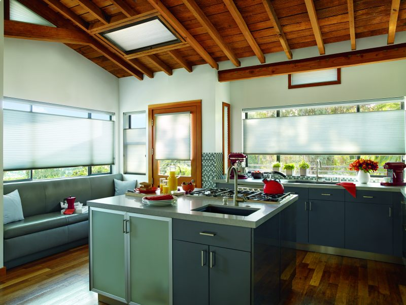 Pictured above, Hunter Douglas Applause honeycomb shades are an especially affordable and smart choice for kitchens: the MicroShield antimicrobial fabric protection helps keeps mold and bacteria out.