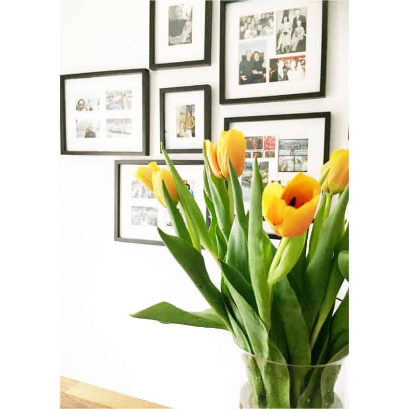 Tulips on my countertop in my kitchen. Happiness in a ceramic pot.