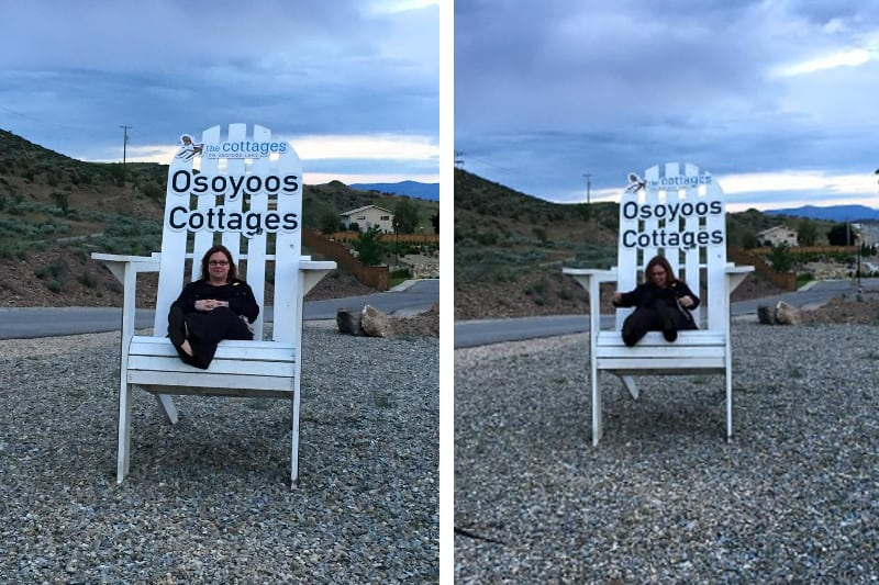 These oversized chairs can be found all around the valley. This one was located at the entrance to The Cottages. Getting into the chair was an adventure!