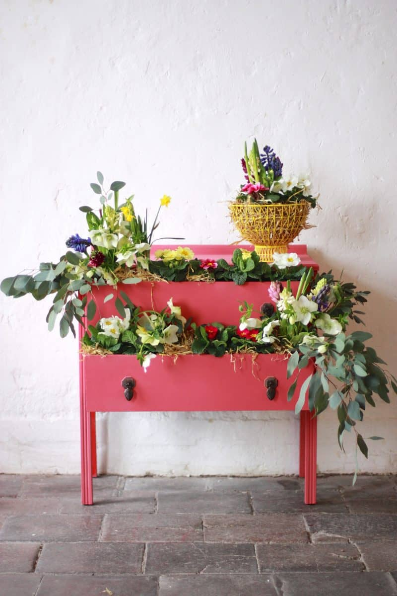 Abigail & Ryan Bell's Floral Coral Chest of Drawers. Annie Sloan Painters in Residence