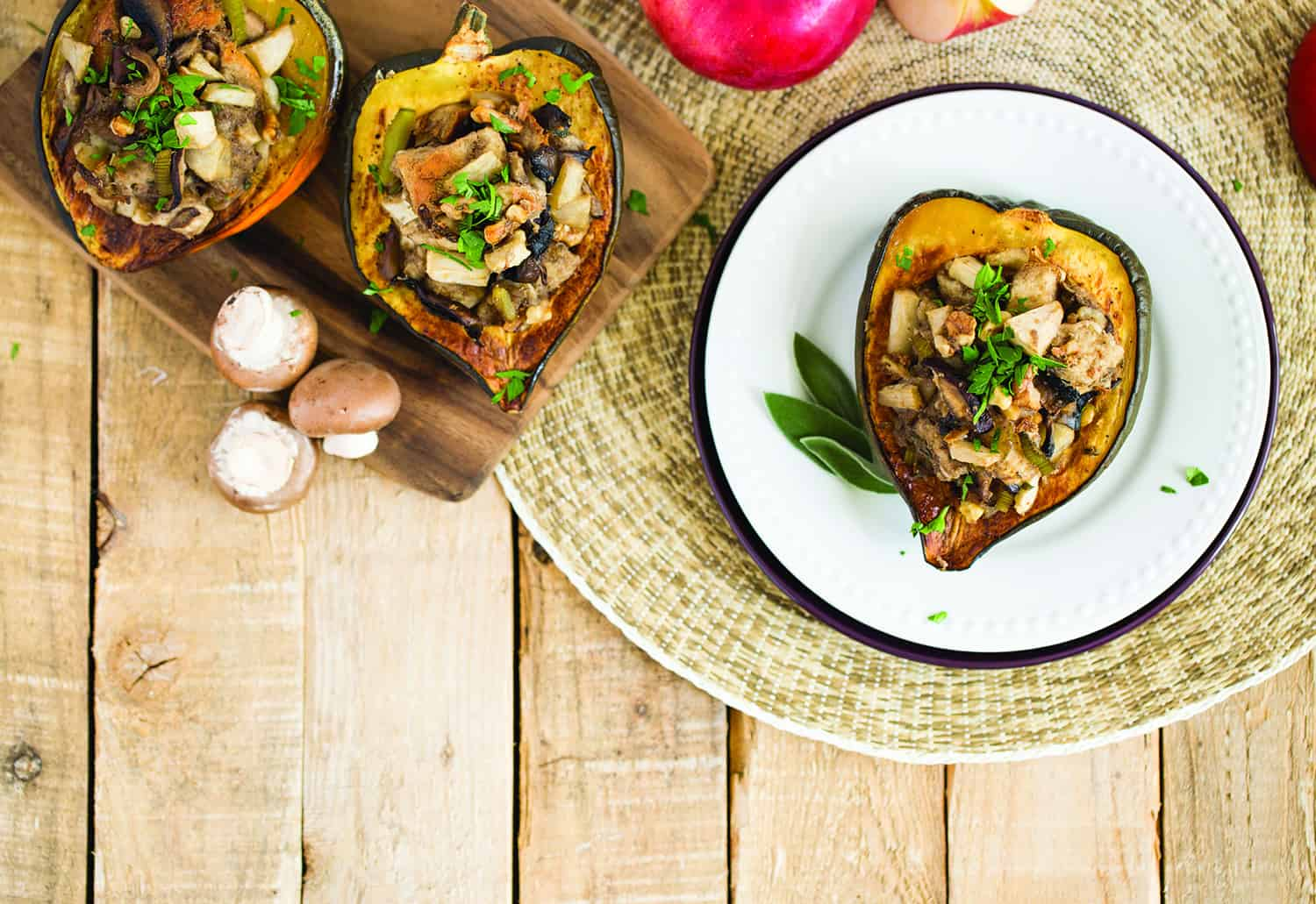 Mushroom, Apple, and Walnut Stuffed Acorn Squash