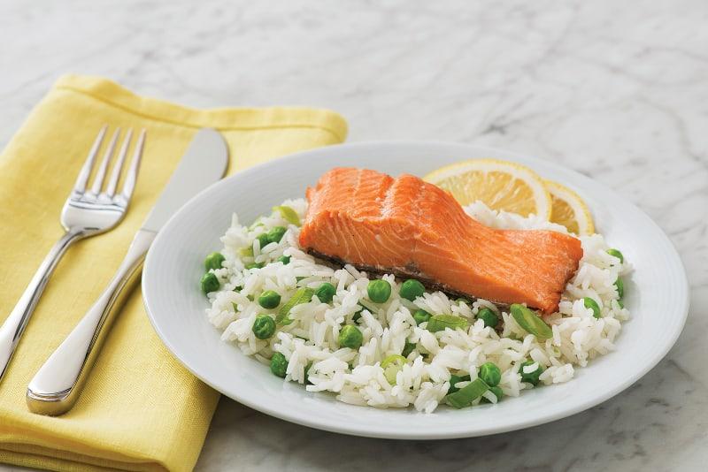 Lemon Rice with Crispy Salmon