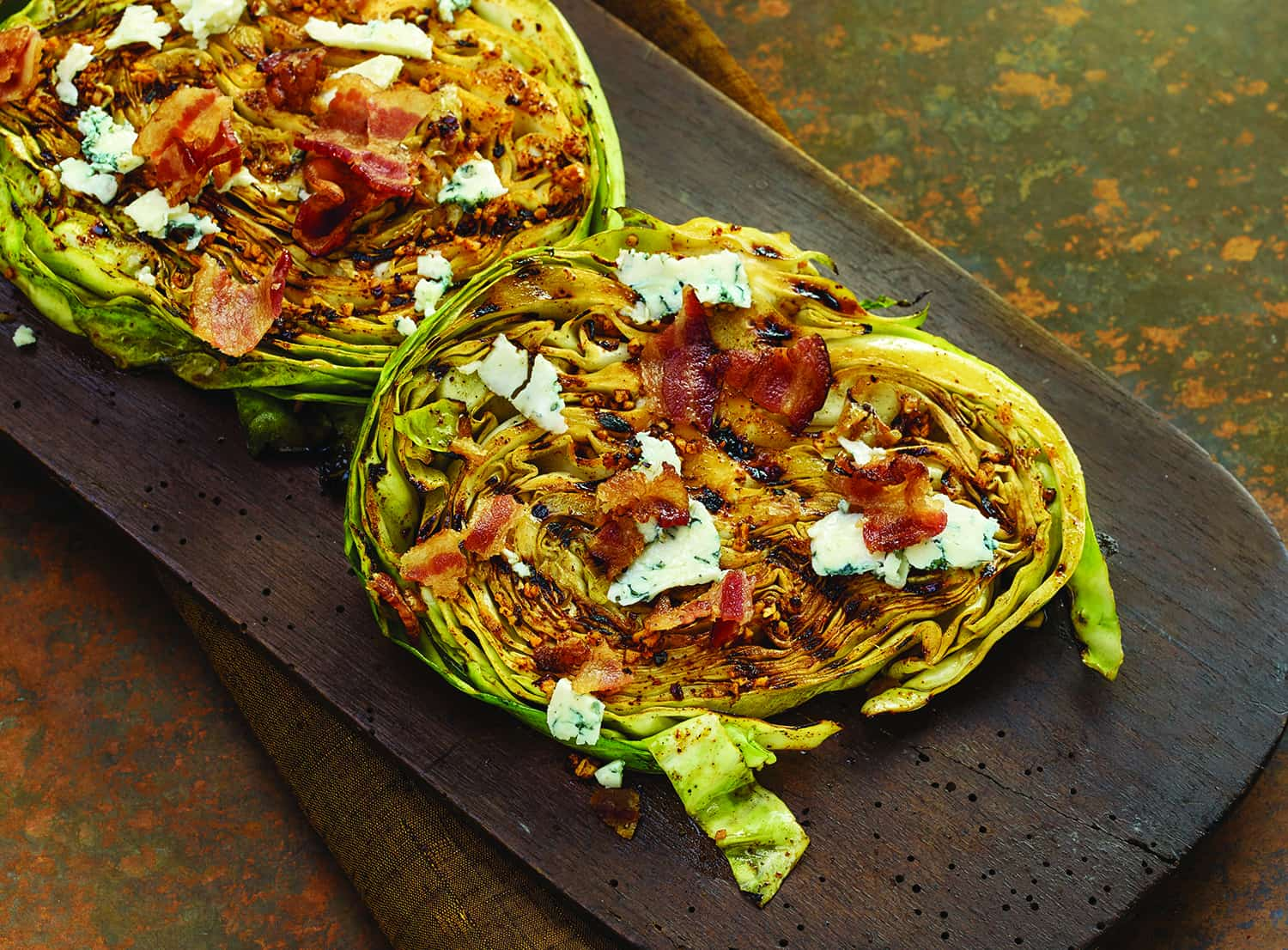 Grilled Cabbage Steaks with Bacon and Blue Cheese