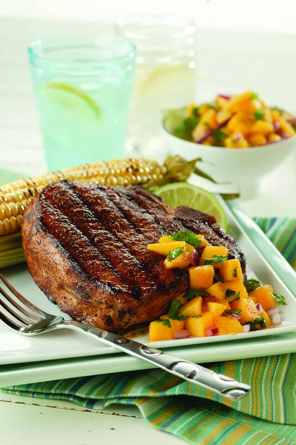 Grilled Pork Chops with Fresh Peach or Mango Salsa