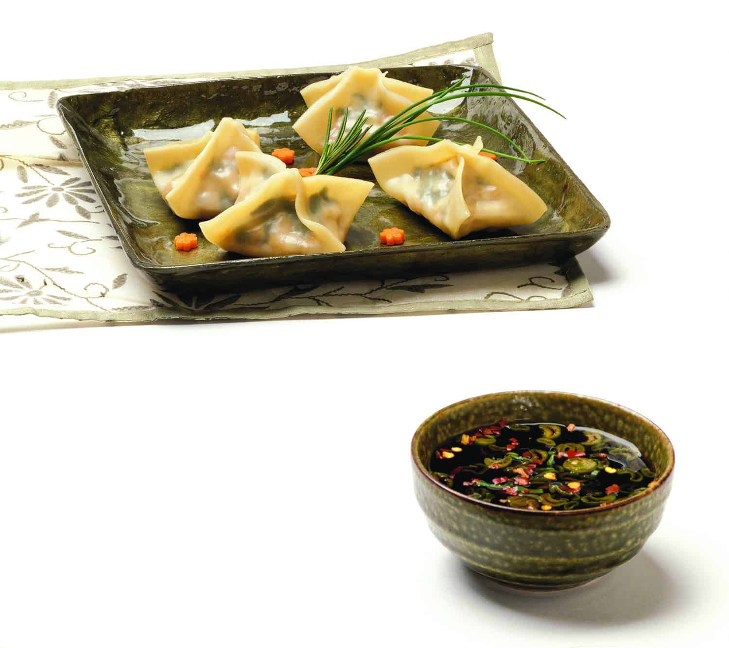 Shanghai Express Dumplings with Mustard Plum Dipping Sauce