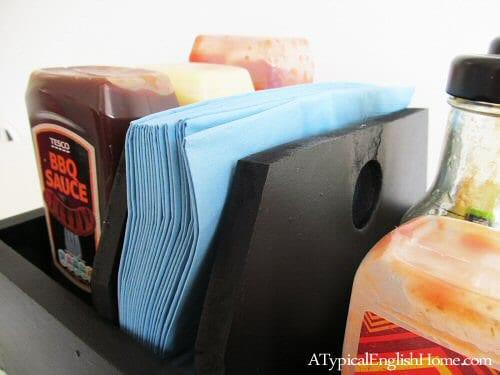 DIY chalkboard condiment caddy