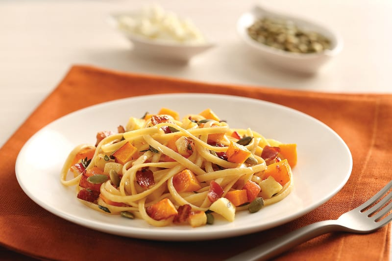 Barilla Caramelized Apple, Pumpkin, and Bacon Linguine
