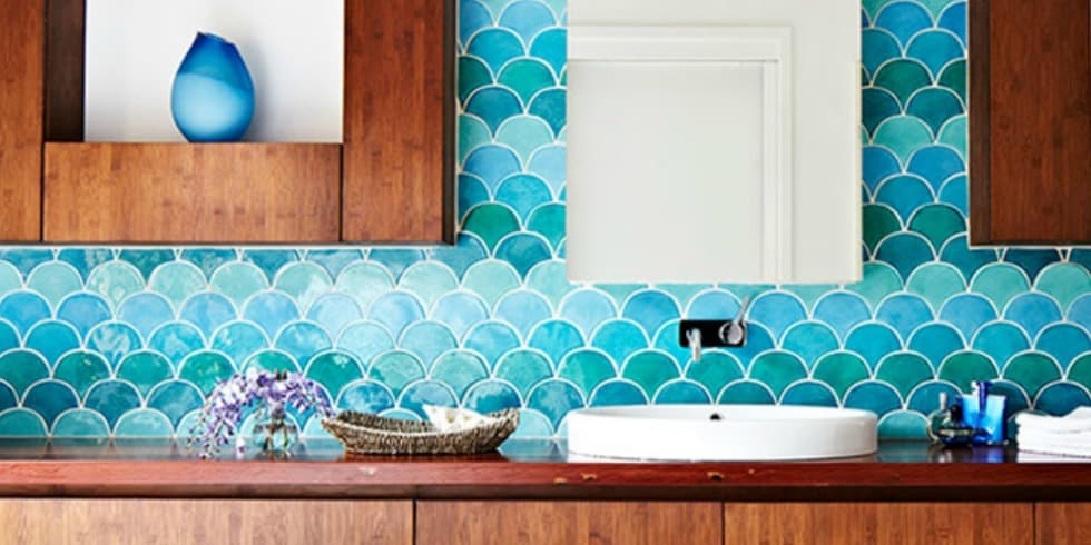 What 39 s trending in bathroom tile home trends magazine for Fish scale tiles bathroom