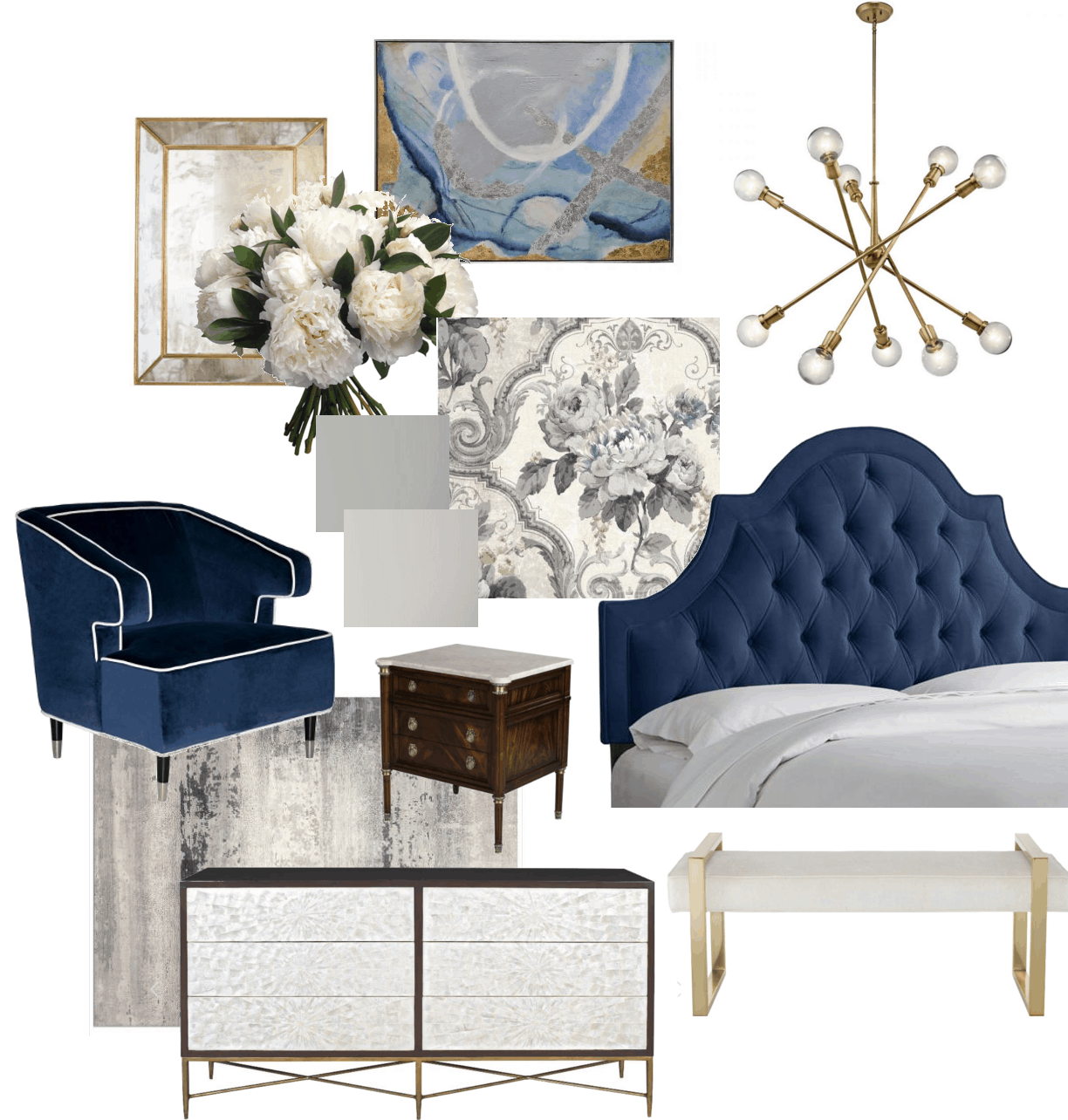 Evelyn's Luxurious Bedroom Design Board