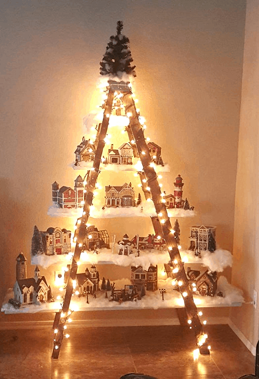 christmas ladder village decoration home trends magazine