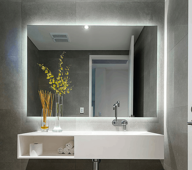what s trending in bathroom mirrors home trends magazine. Black Bedroom Furniture Sets. Home Design Ideas