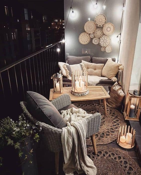 bed on small balcony decor idea