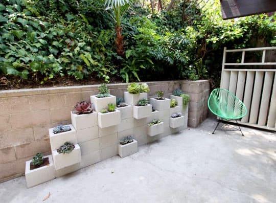 Cinderblock Wall Garden