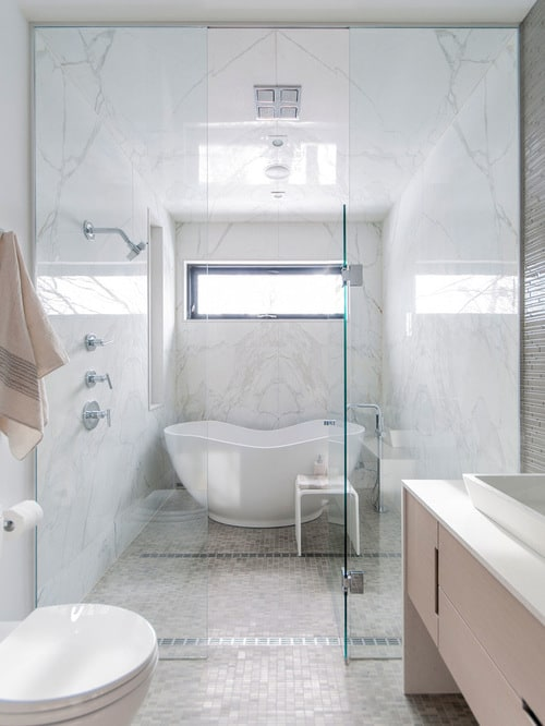A Tub And Shower Combination That Still Gives You Luxury Freestanding Focal Point
